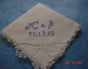 Something blue wedding handkerchief, hand embroidered, WHITE hanky only, wedding colors welcome, monogram, personalized