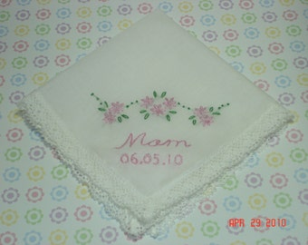 Wedding hanky/ mother of bride/mother of groom/ wedding colors welcome/ hand embroidered/dated