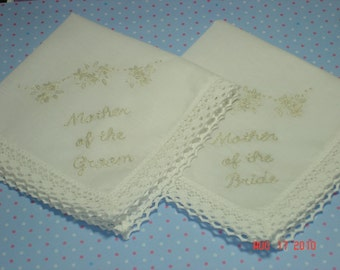 Mother of bride/mother of groom wedding handkerchiefs/ set of 2// ecru on ivory/ simply elegant/hand embroidered/dated