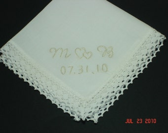 Wedding handkerchief/hearts intertwined/ simply elegant/hand embroidered/ecru on ivory