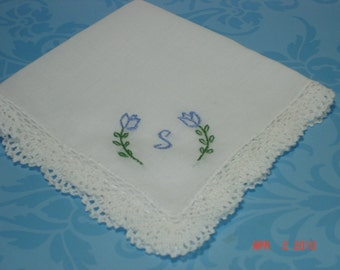 Something blue wedding handkerchief/ tulips w/ initial/ hand embroidered/ personalized hanky