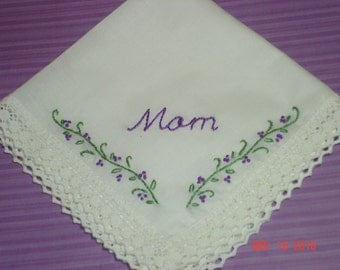 Mother of the bride/mother of the groom wedding handkerchief/possible bridesmaid hanky/hand embroidered/wedding colors welcome