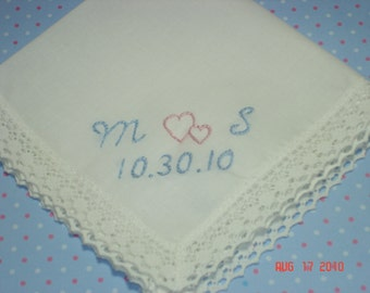 Something blue handkerchief/wedding handkerchief/hand embroidered/intertwined hearts, monogram, bridal gift, gift for bride,