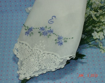 Something blue wedding handkerchief/hand embroidered/personalized