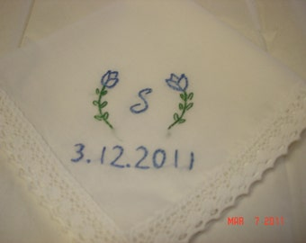Something blue wedding handkerchief/ tulips w/ initial, dated/ hand embroidered/ personalized hanky