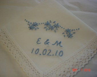 Something blue wedding handkerchief , bouquet wrap, hand embroidered, bridal gift, monogrammed, personalized, wedding colors welcome