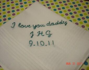Bride to dad, wedding handkerchief/bride to groom/hand embroidered/wedding colors welcome