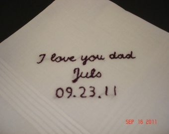 for CHRISTINA/  Bride to father wedding handkerchief/bride to groom/hand embroidered/wedding colors welcome