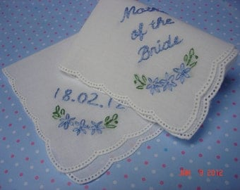 Wedding handkerchief, mother of bride,mother of groom, hand embroidered,set of two, wedding colors welcome picot edged hankies.