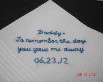 Bride to dad-Father of bride handkerchief/hand embroidered/father of groom/groom gift/wedding colors welcome10-26