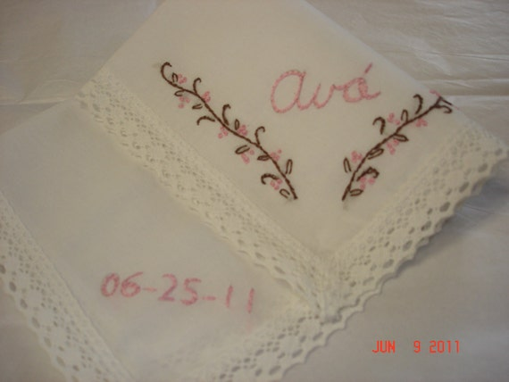Wedding handkerchief/pink and brown/name/datedbridesmaid//vines/hand embroidered/wedding colors welcome
