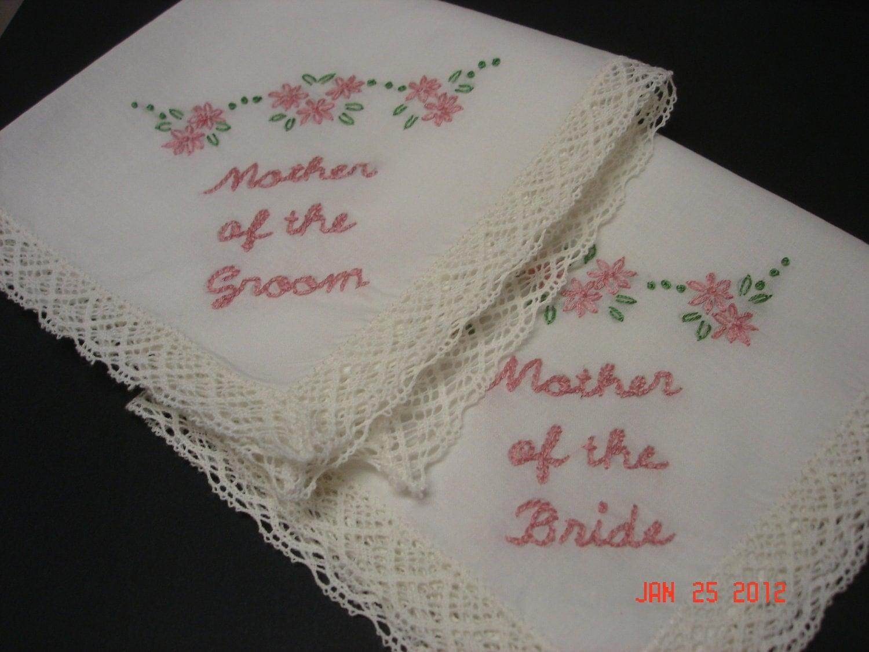 Wedding Handkerchief Mother Of Bride Groom Hand