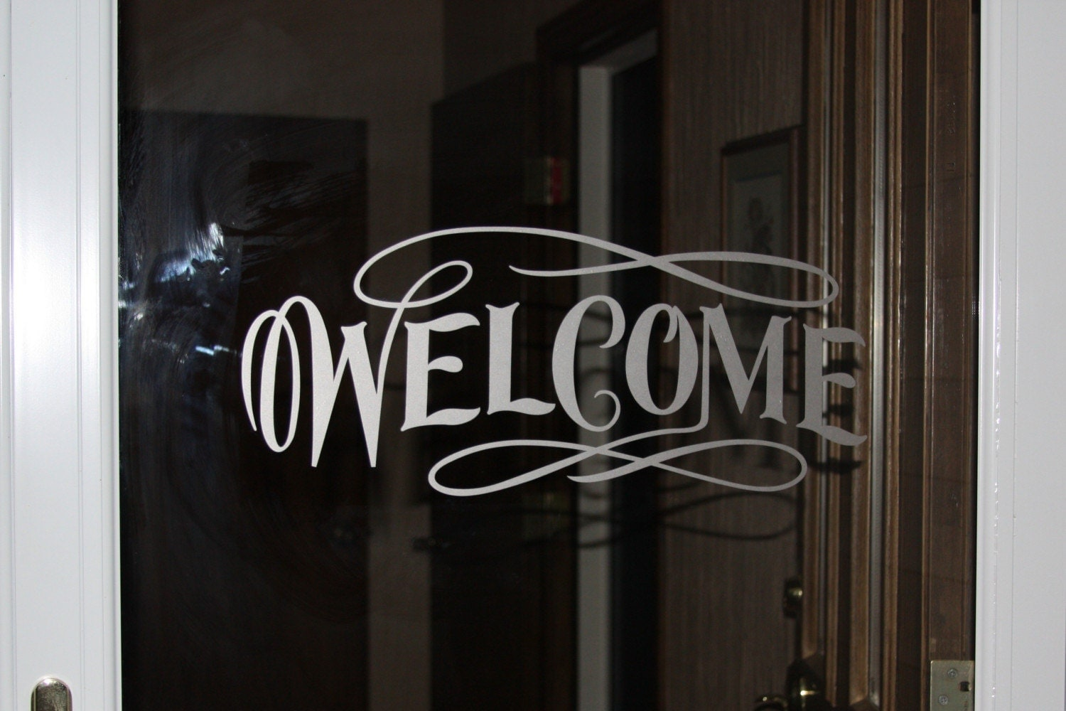 Items similar to Welcome vinyl glass door or window decal - Etched ...