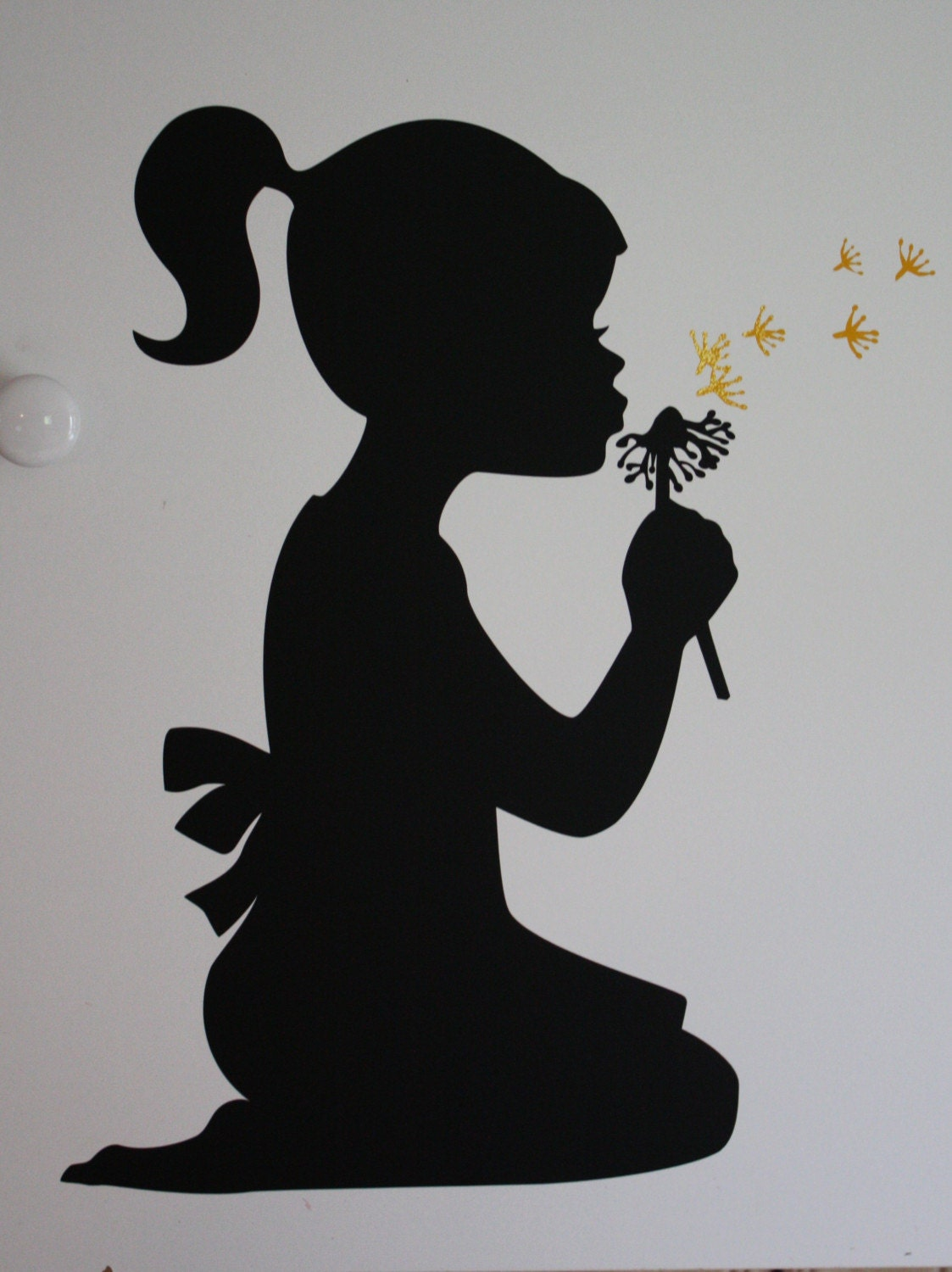 Vinyl Silhouette Young Girl Blowing Dandelion New