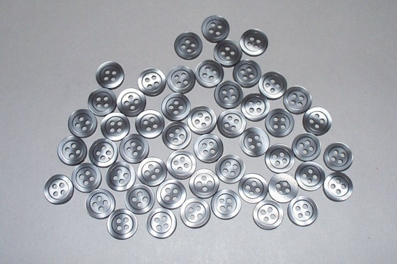 50 Matching, 7/16 Inch, Shiny Gray Buttons, Lot 1910