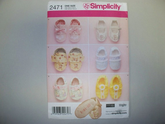 New Simplicity Baby Shoes Pattern, 2471 (Free US Shipping)