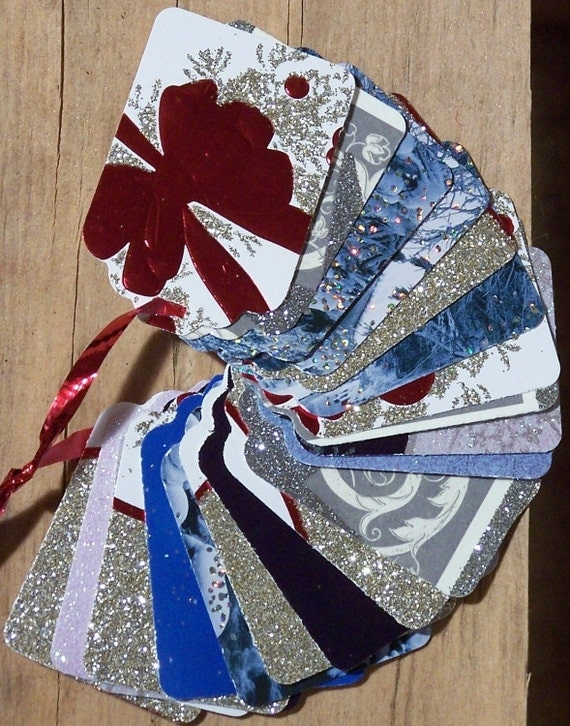 Upcycled Holiday Gift Tag -All that Glitters