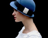 blue hat with black bow-made to order