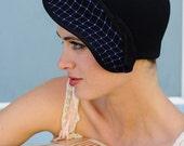 Bon Voyage- black cap with vintager royal blue netting