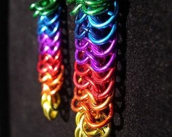 Rainbow Cascade Chainmail Earrings - Euro 6-in-1 Pattern