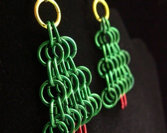 Chainmail Christmas Tree Earrings