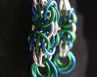 Blue and Green Triple Birdcage Earrings