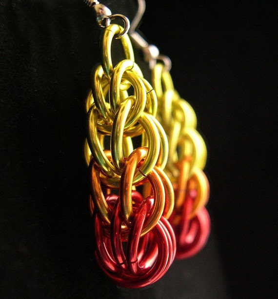 Flame Drop Chainmail Earrings