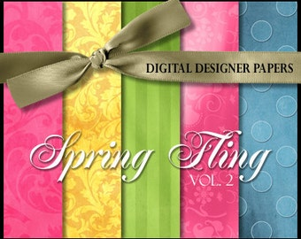 Digital Papers - SPRING FLING (Volume 2) - 12x12 Expertly Designed Photography Backdrops for Photographers and Scrapbookers.