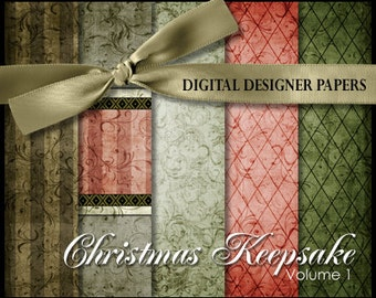 Digital Papers - CHRISTMAS KEEPSAKE (Volume 1) - 12x12 Expertly Designed Photography Backdrops for Photographers and Scrapbookers.