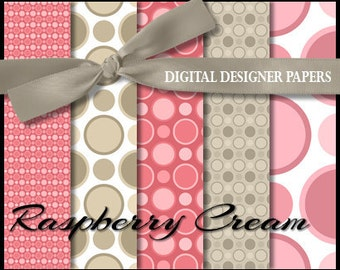 Digital Papers - RASPBERRY CREAM - 12x12 Expertly Designed Photography Backdrops for Photographers and Scrapbookers.