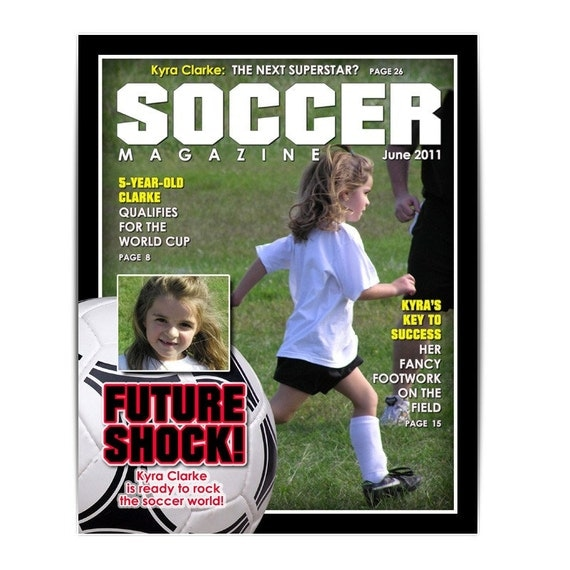photoshop template sports design 8x10 soccer magazine cover 1 digital template for. Black Bedroom Furniture Sets. Home Design Ideas