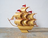 vintage mid century bamboo clipper ship
