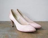 vintage 80s pink iridescent woodgrain high heel shoes size 6.5