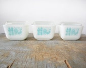 SALE vintage pyrex dishes / butterprint turquoise white milk glass / refrigerator dishes