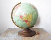 vintage 50s 12 inch replogle reference world portrait globe