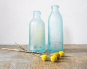 RESERVED 25% off sale / antique 1890s aqua blue blob top soda bottles