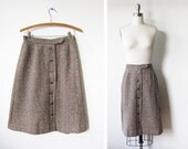 vintage 60s skirt / wool tweed / navy copper / button front