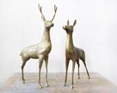 25% OFF SALE vintage large spotted brass deer figurines