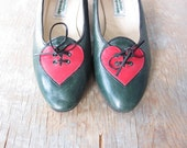 vintage heart shoes / German costume shoes / forest green flats / 7.5