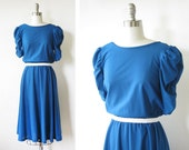 vintage blue dress / 80s party dress / ruched sleeves