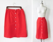 vintage red skirt / mod button front skirt / high waisted