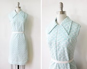 mod scooter dress / aqua blue and white 60s shift dress
