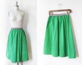 70s green belted skirt / vintage high waisted skirt
