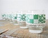 vintage juice glasses / 1960s libbey glasses / country garden