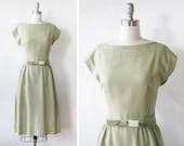 1960s dress / vintage 60s Samuel Winston dress / vintage sage green dress
