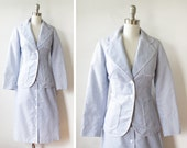 vintage blue seersucker suit / nautical two piece suit