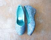 60s slippers / aqua blue wedges / size 5.5 6