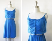 blue summer dress / vintage 1980s blue sundress / small sundress