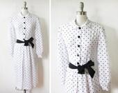 polka dot dress / vintage black and white polka dot dress / peter pan collar dress