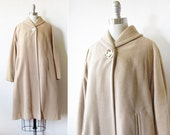 1960s swing coat / vintage cream wool mod coat / vintage winter coat